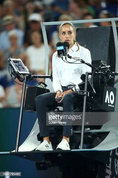 Chair Umpire Marijana Veljovic looks over the Women's Semi Final match between Naomi Osaka of Japan and Karolina Pliskova of Czech Republic during...