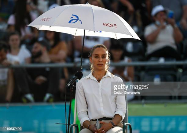Chair umpire Marijana Veljovic of Serbia looks on during the match between Alexander Zverev of Germany and Filip Krajinovic of Serbia during the...
