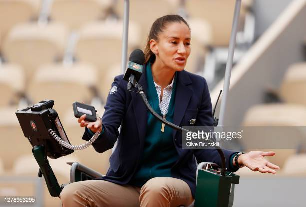Chair Umpire Marijana Veljovic reacts during the Women's Singles quarterfinals match between Laura Siegemund of Germany and Petra Kvitova of Czech...