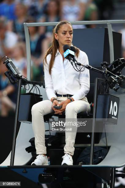Chair umpire Marijana Veljovic watches the women's singles final between Caroline Wozniacki of Denmark and Simona Halep of Romania on day 13 of the...