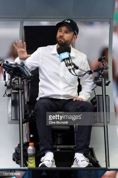 Chair umpire Thomas Sweeney of Australia talks to players during the Men's Singles third round match between Marin Cilic of Croatia and Roberto...