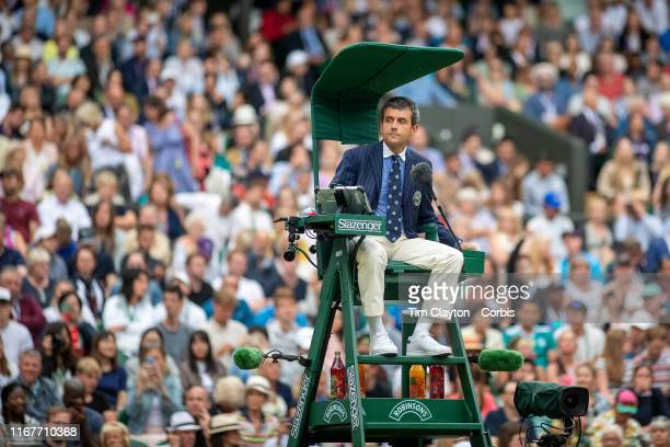 Chair umpire umpire Carlos Ramos presiding over the Roger Federer of Switzerland match against Matteo Berrettini of Italy in the Men's Singles fourth...