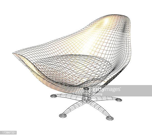 chair wireframe - wire frame model stock pictures, royalty-free photos & images