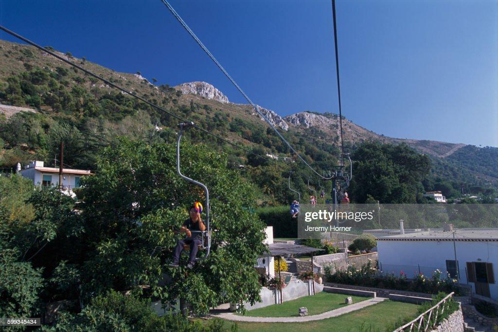chairlift from anacapri to monte solaro on capri stock photo getty