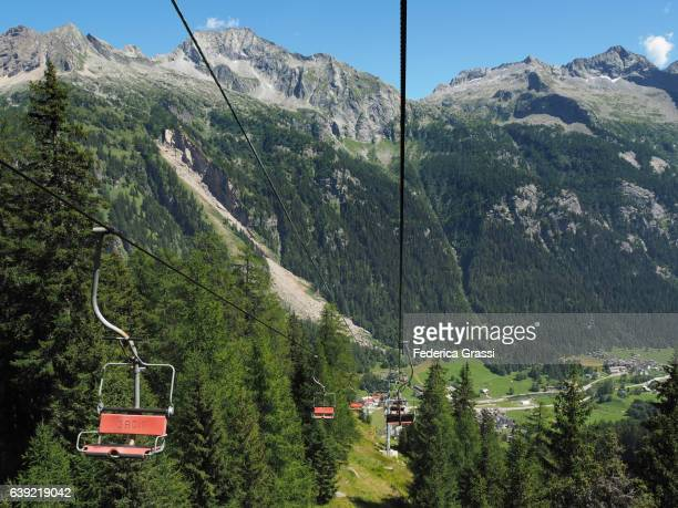 Chairlift in Formazza Valley, Lepontine Alps, Piedmont, Northern Italy