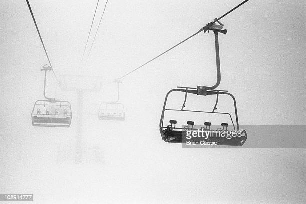 Chairlift in the fog