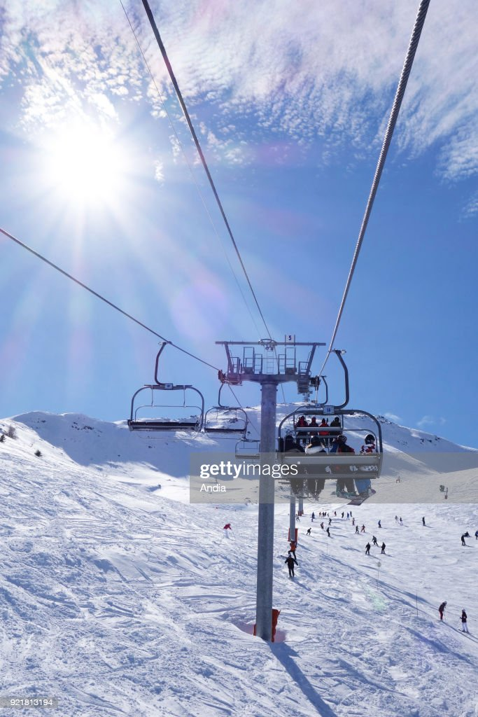 Chairlift in the sea resort of Valloire. : News Photo