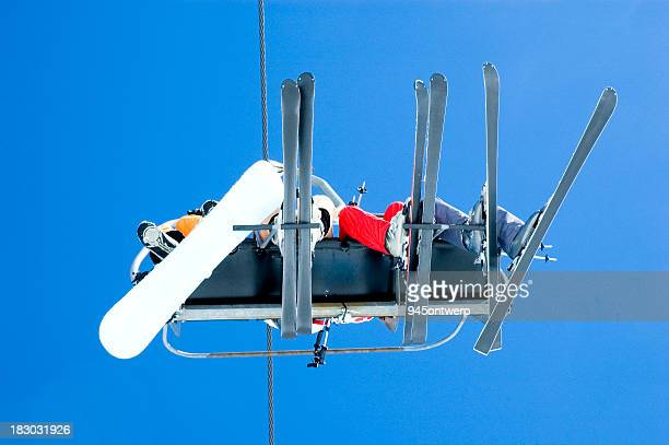chairlift seen from below - ontwerp stock pictures, royalty-free photos & images