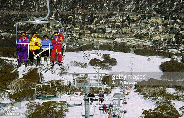Chairlifts over the Thredbo village in the Kosciusko National Park