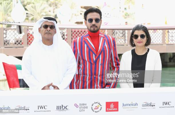 Chairman Abdulhamid Juma Irrfan Khan and Managing Director of DIFF Shivani Pandya attend a photocall on day three of the 14th annual Dubai...