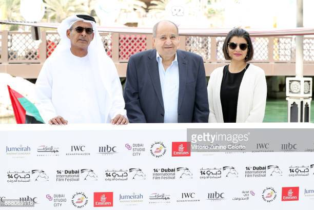Chairman Abdulhamid Juma Wahid Hamed and Managing Director of DIFF Shivani Pandya attend a photocall on day three of the 14th annual Dubai...
