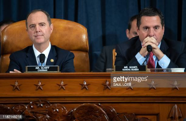 Chairman Adam Schiff Democrat of California and Ranking Member Devin Nunes Republican of California during the first public hearings held by the...