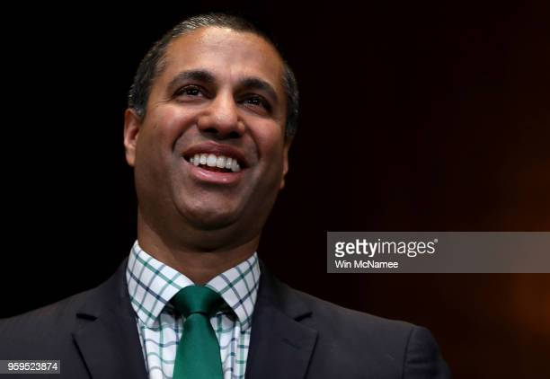 Chairman Ajit Pai awaits the start of a hearing held by the Senate Appropriations Committee May 17 2018 in Washington DC The committee heard...