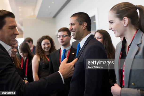 Chairman Ajit Pai center talks with Eric Bolling during the Conservative Political Action Conference at the Gaylord National Resort in Oxon Hill Md...