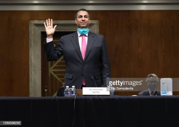 Chairman, Ajit Pai, is sworn in before testifying before a Senate Appropriations Subcommittee on Capitol Hill June 16, 2020 in Washington, DC. The...