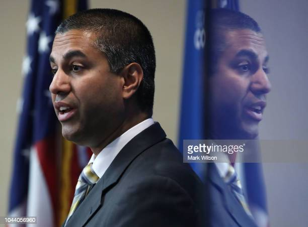 Chairman Ajit Pai speaks during a news conference to unveil Cox Connect2Compete program, at the National Press Club, on October 1, 2018 in...