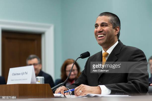Chairman Ajit Pai testifies before the House Appropriations Committee during a hearing on the 2019FY FCC Budget on Capitol Hill on April 26 2018 in...
