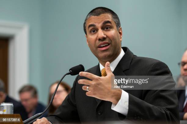 Chairman Ajit Pai testifies before the House Appropriations Committee during a hearing on the 2019FY FCC Budget on Capitol Hill on April 26, 2018 in...