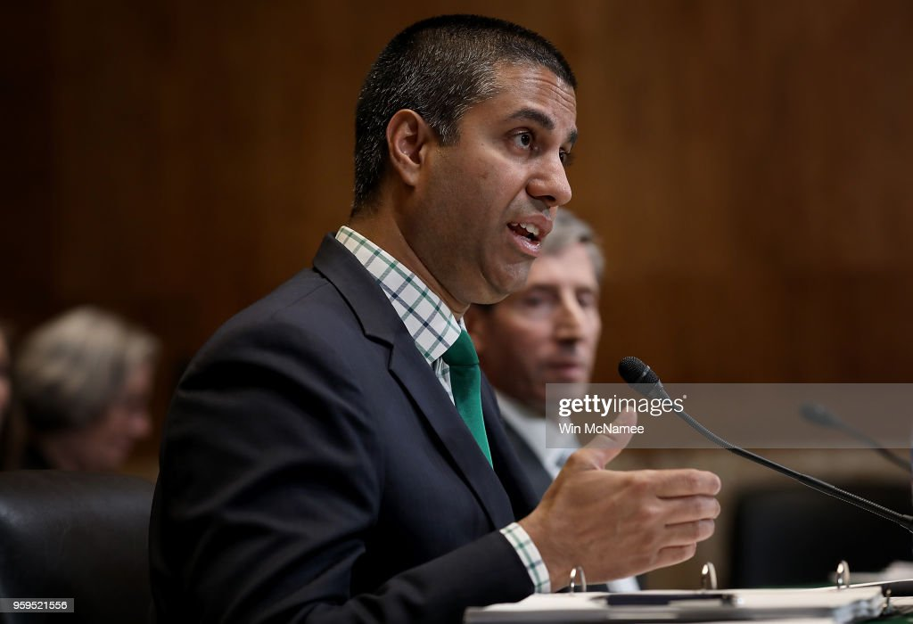 Chairman Ajit Pai testifies before the Senate Appropriations Committee May 17, 2018 in Washington, DC. The committee heard testimony on the proposed budget estimates and justification for fiscal year 2019 for the Federal Communications Commission and the Federal Trade Commission.