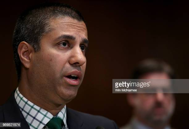 Chairman Ajit Pai testifies before the Senate Appropriations Committee May 17 2018 in Washington DC The committee heard testimony on the proposed...