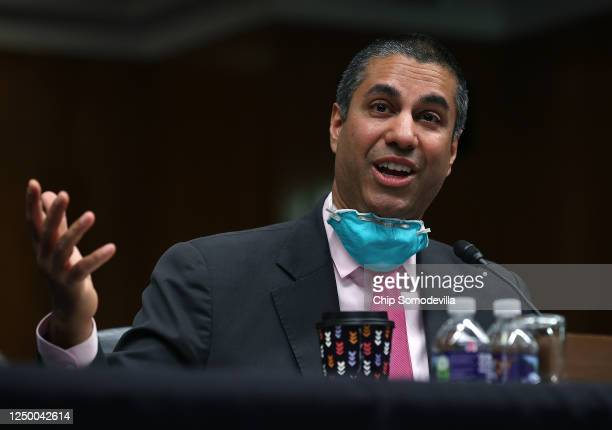 Chairman, Ajit Pai, testifies during a Senate Appropriations Subcommittee hearing on Capitol Hill June 16, 2020 in Washington, DC. The hearing's...