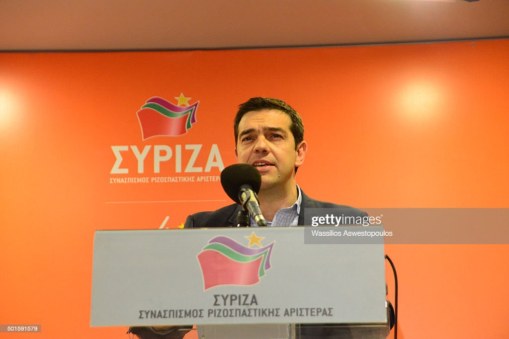 Chairman Alexis Tsipras at the party's office on his victory at the elections for the European Parliament 25/5/2014.