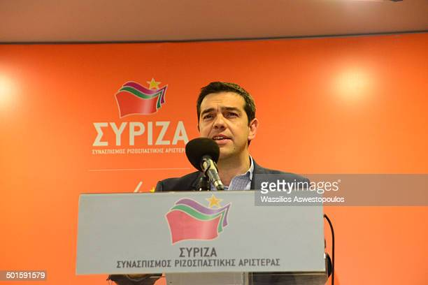 Chairman Alexis Tsipras at the party's office on his victory at the elections for the European Parliament 25/5/2014