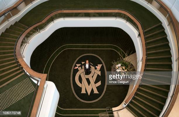 Chairman Amanda Elliott poses on the ground level of the new Club Stand during a media preview of the new Club Stand at Flemington Racecourse on...