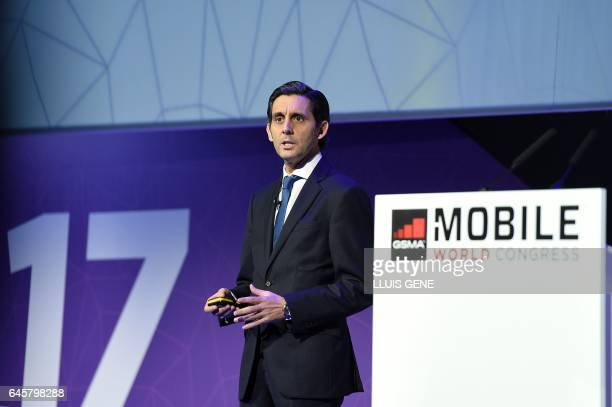 Chairman amp CEO of Telefonica Jose Maria AlvarezPallete Lopez speaks during a keynote speech at the Mobile World Congress in Barcelonaon February 27...
