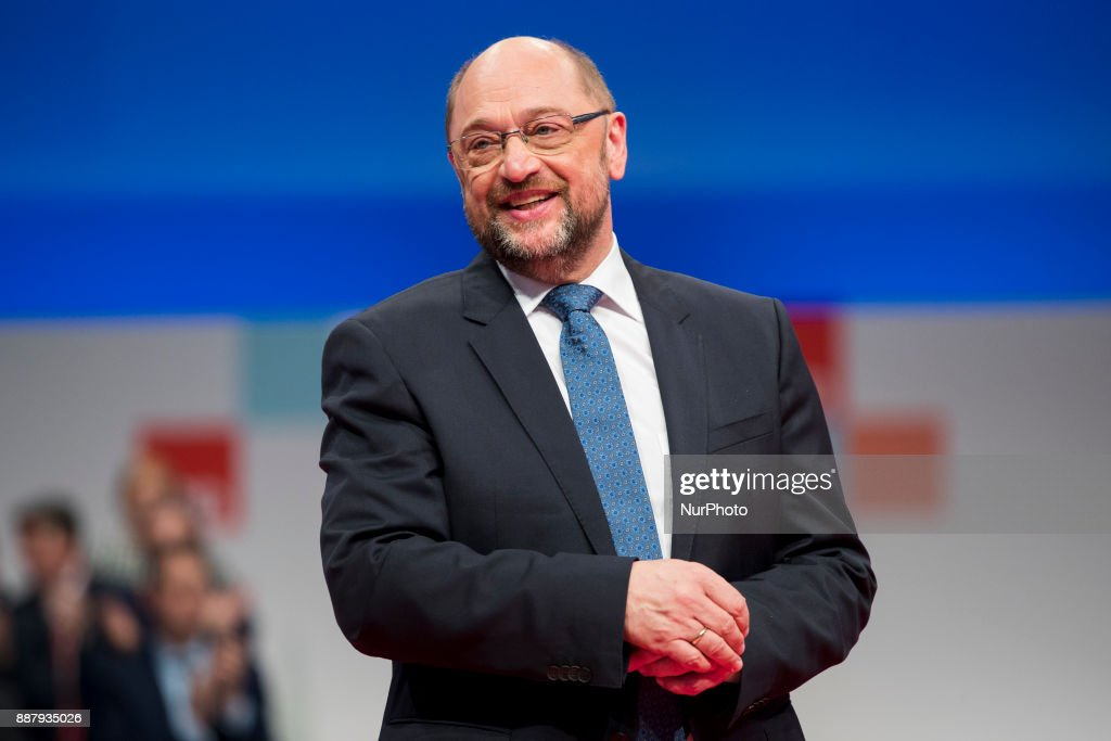 Chairman and candidate Chairman Martin Schulz is pictured at the end of his speach during the party congress of the German Social Democratic Party (SPD) in Berlin, Germany on December 7, 2017.