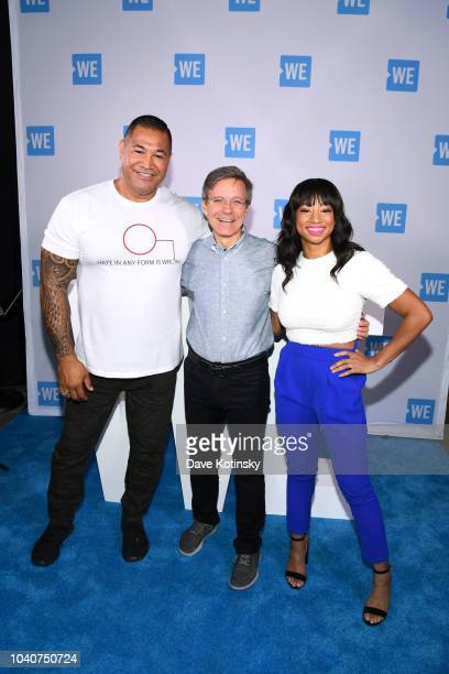 Chairman and CEO Allstate Tom Wilson Esera Tuaolo and Monique Coleman attend WE Day UN 2018 at Barclays Center on September 26 2018 in New York City