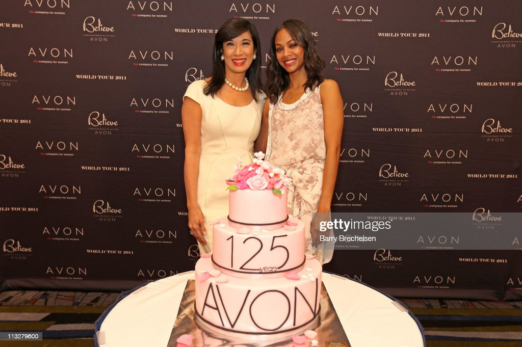 Chairman and CEO Andrea Jung and Zoe Saldana attend the AVON Believe World Tour on April 29, 2011 in Chicago, Illinois.