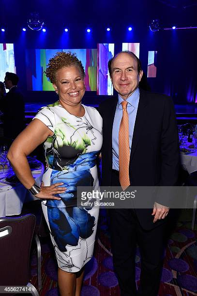 Chairman and CEO BET Networks Debra L Lee and President and CEO of Viacom Philippe Dauman appear at the 31st Annual Walter Kaitz Foundation...