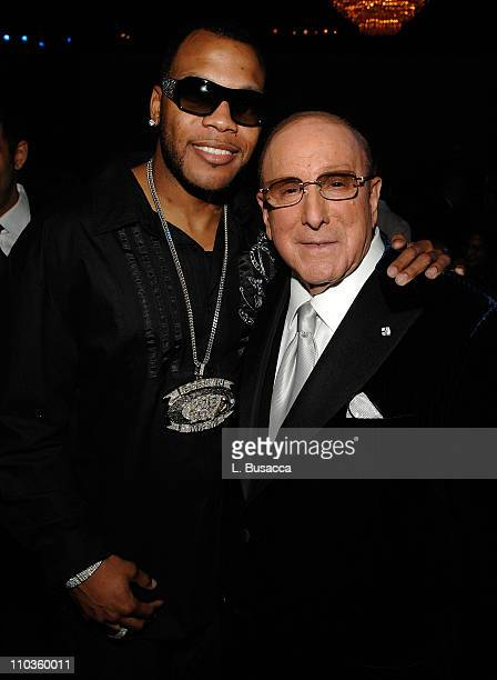 Chairman and CEO BMG US Clive Davis and rapper Flo Rida during the 2008 Clive Davis PreGRAMMY party at the Beverly Hilton Hotel on February 9 2008 in...