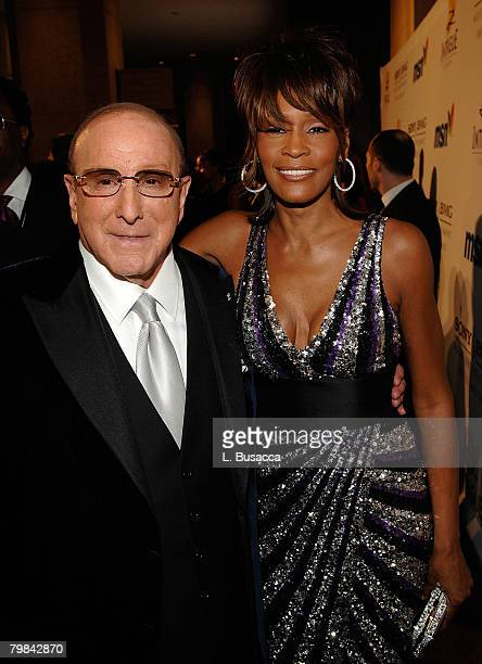 Chairman and CEO BMG US Clive Davis and singer Whitney Houston attends the 2008 Clive Davis PreGRAMMY party at the Beverly Hilton Hotel on February 9...