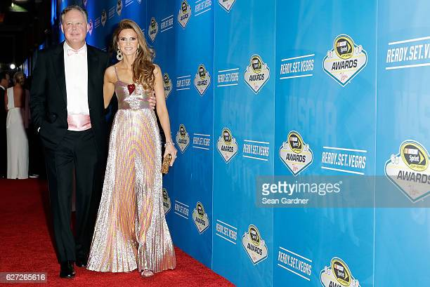 Chairman and CEO Brian France and his wife Amy attend the 2016 NASCAR Sprint Cup Series Awards at Wynn Las Vegas on December 2 2016 in Las Vegas...