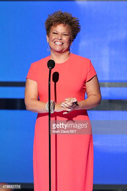 Chairman and CEO Debra L Lee speaks onstage during the 2015 BET Awards at the Microsoft Theater on June 28 2015 in Los Angeles California