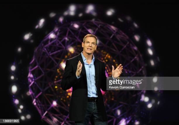 Chairman and CEO Dr Paul E Jacobs of Qualcomm delivers the keynote address at the 2012 International Consumer Electronics Show at The Venetian on...