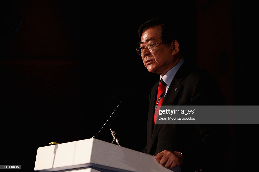 Chairman and CEO for PyeongChang 2018, Yang-Ho Cho speaks during the 2018 Olympics Winter Games bid presentation for Pyeongchang at the Park Plaza Westminster Bridge Hotel on April 7, 2011 in London, England.