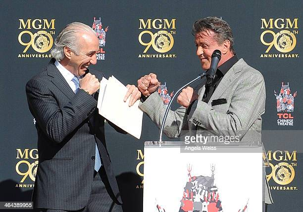 Chairman and CEO, Gary Barber and actor Sylvester Stallone attend the Metro-Goldwyn-Mayer 90th Anniversary Celebration at TCL Chinese Theatre on...