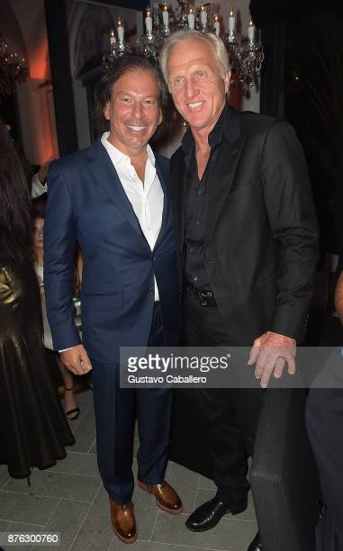 Chairman and CEO Gary Friedman and Greg Norman attend the private opening celebration of RH West Palm on November 18 2017 in West Palm Beach Florida