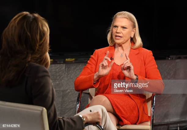 IBM Chairman and CEO Ginni Rometty visits Mornings with Maria to talk to host Maria Bartiromo at Fox Business Network at FOX Studios on April 28 2017...