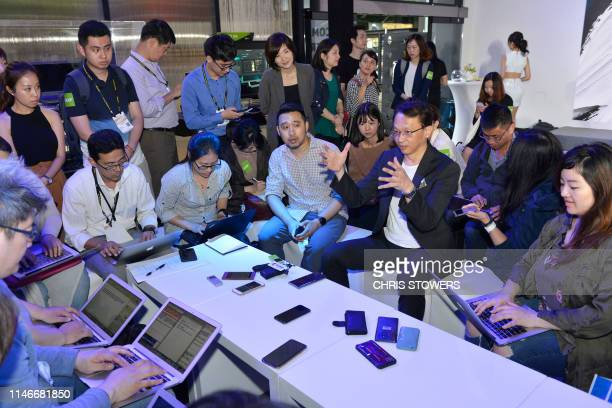 Chairman and CEO Jason Chen speaks to reporters during Computex at Nangang exhibition centre in Taipei on May 28, 2019.