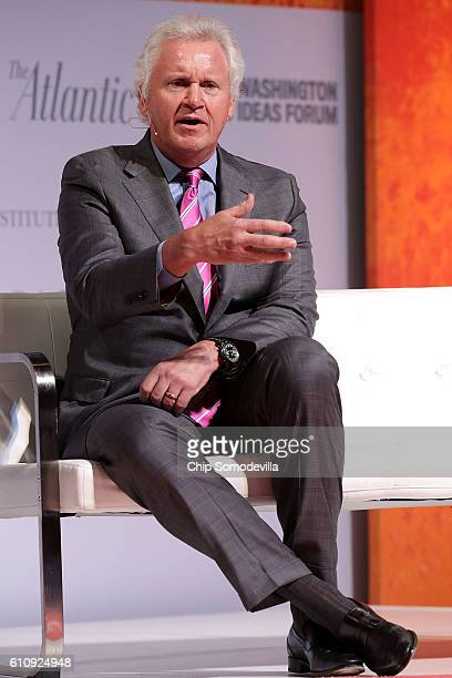 Chairman and CEO Jeff Immelt is interviewed during the Washington Ideas Forum at the Harmon Center for the Arts September 28 2016 in Washington DC A...