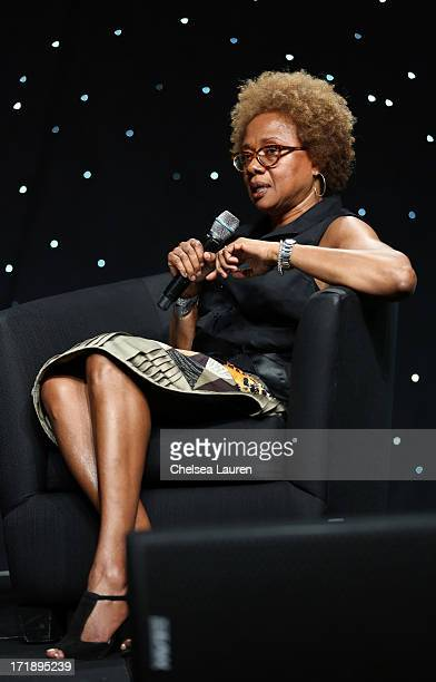 Chairman and CEO Madison Media Management Paula Madison speaks the BET Revealed Seminars during the 2013 BET Experience at JW Marriott Los Angeles at...