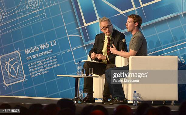 Chairman and CEO Mark Zuckerberg of Facebook attends a conference during the first day of Mobile World Congress on February 24 2014 in Barcelona...