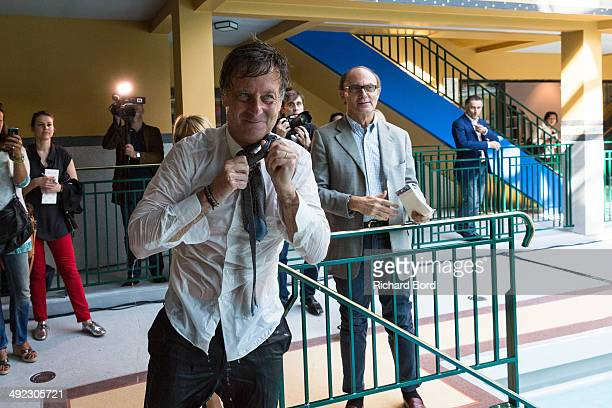 Chairman and CEO of Accor Sebastien Bazin after his swim in the winter pool at the Piscine Molitor during its inauguration on May 19 2014 in Paris...