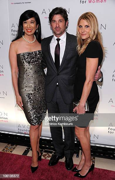 Chairman and CEO of Avon Products Andrea Jung Avon Spokesperson Patrick Dempsey and Avon Global Creative Color Director Jillian Dempsey attend the...