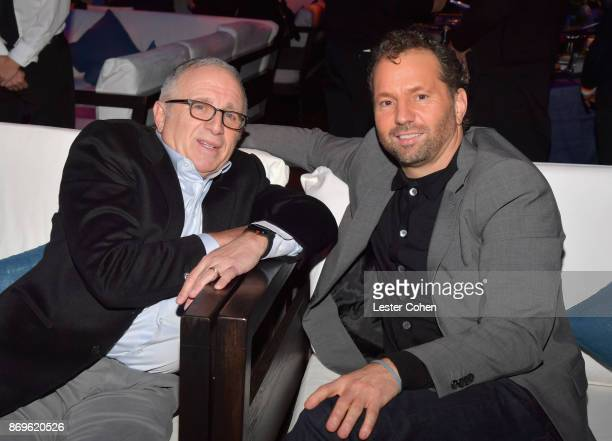 Chairman and CEO of Azoff MSG Entertainment Irving Azoff and CEO of Live Nation Entertainment Michael Rapino at MFEI Spirit Of Life Honoring Coran...