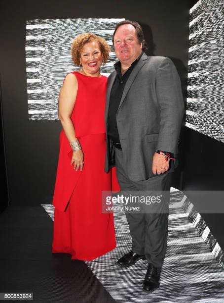 Chairman and CEO of BET Networks Debra L Lee and President and Chief Executive Officer of Viacom Inc Bob Bakish at the InstaBooth at the 2017 BET...